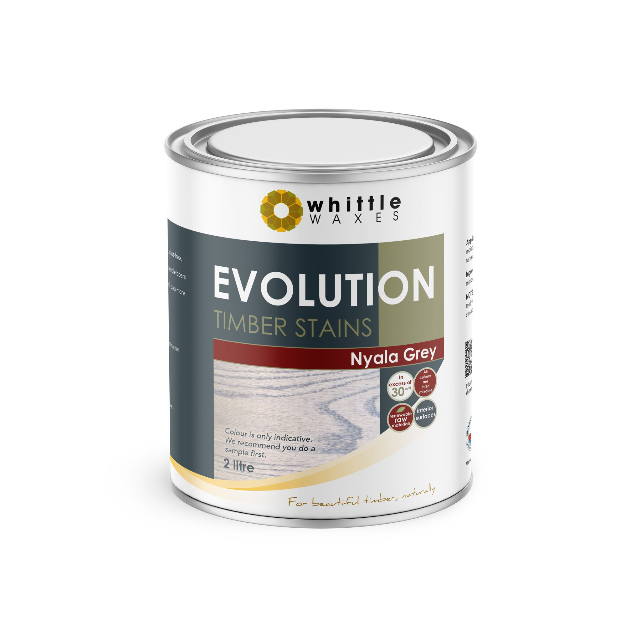 Whittle Waxes Evolution Colours (Nyala Grey) - quality timber stain - 2 Litre