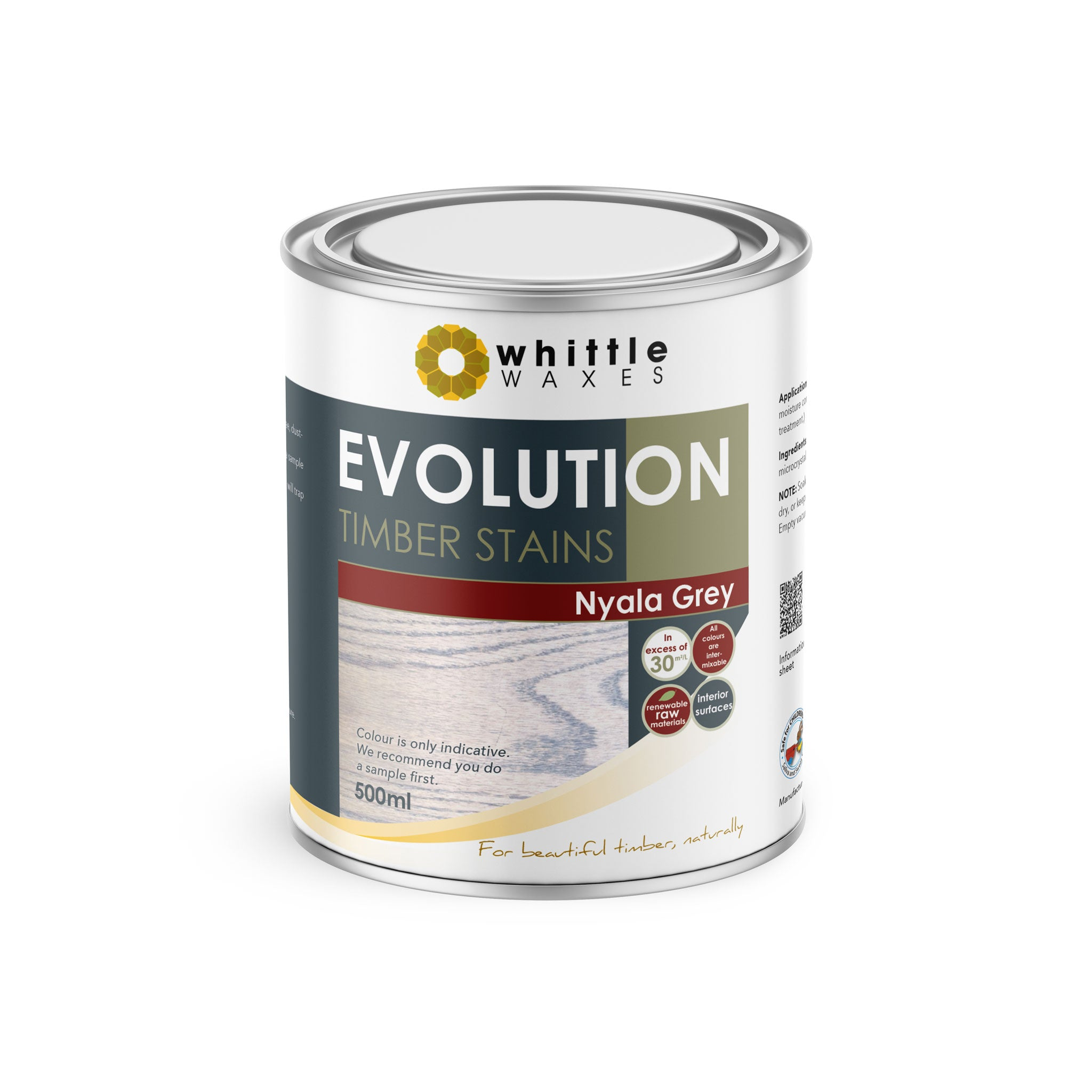 Whittle Waxes Evolution Colours (Nyala Grey) - quality timber stain - 500ml