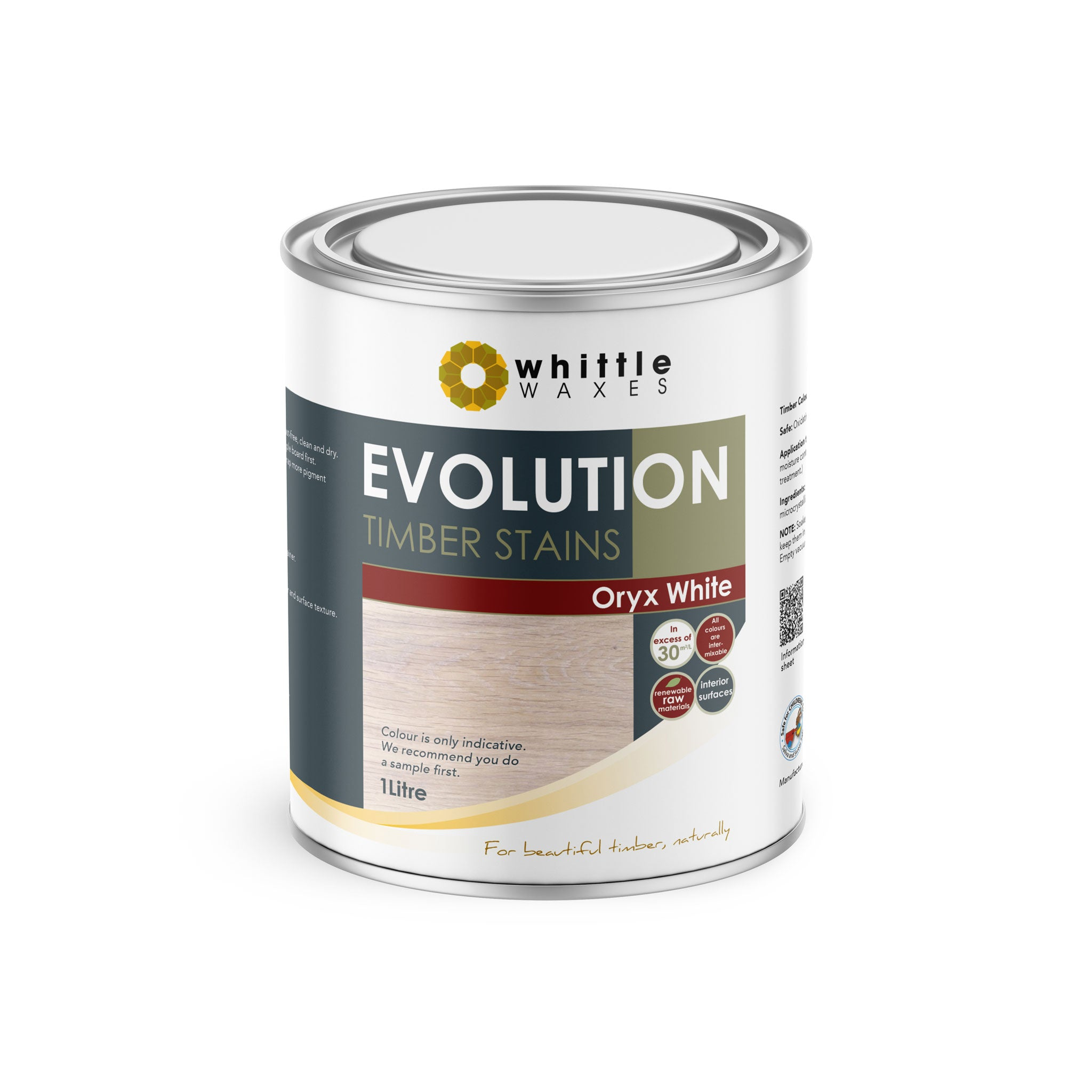 Whittle Waxes Evolution Colours (Oryx White) - quality timber stain - 1 Litre