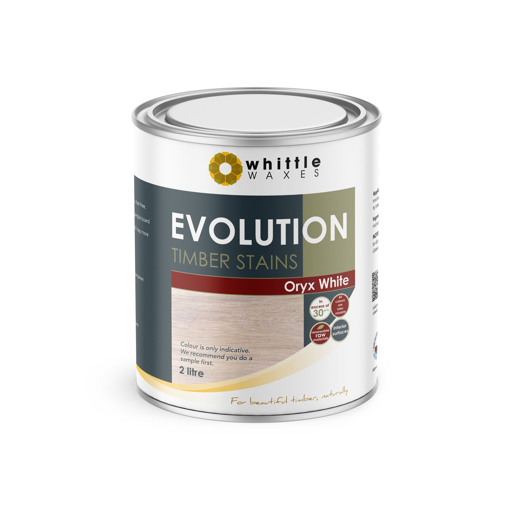 Whittle Waxes Evolution Colours (Oryx White) - quality timber stain - 2 Litre