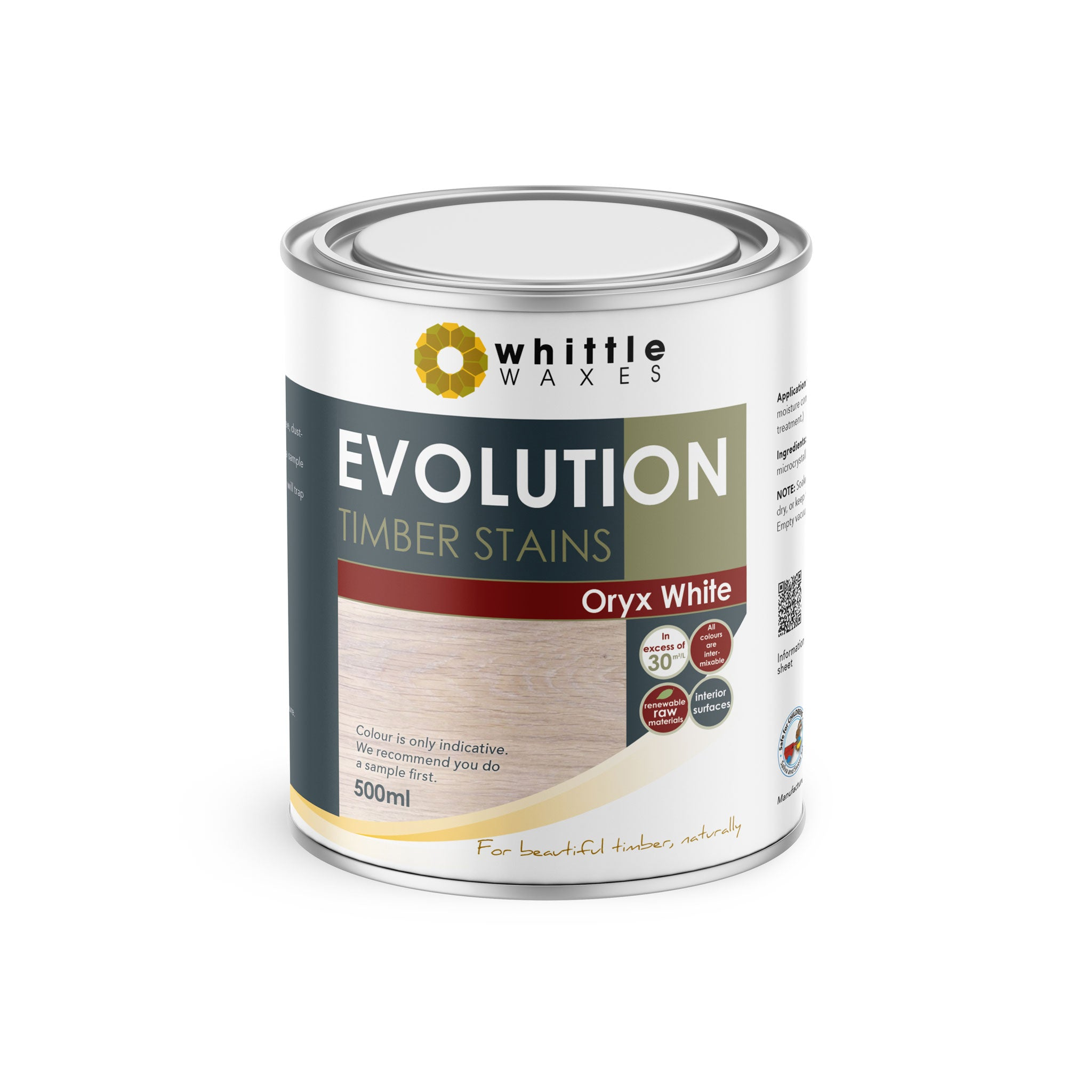 Whittle Waxes Evolution Colours (Oryx White) - quality timber stain - 500ml