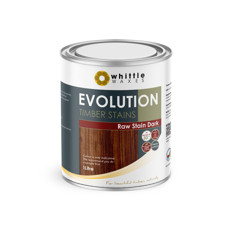 Whittle Waxes Evolution Raw Stain Dark - quality timber stain - 1 Litre