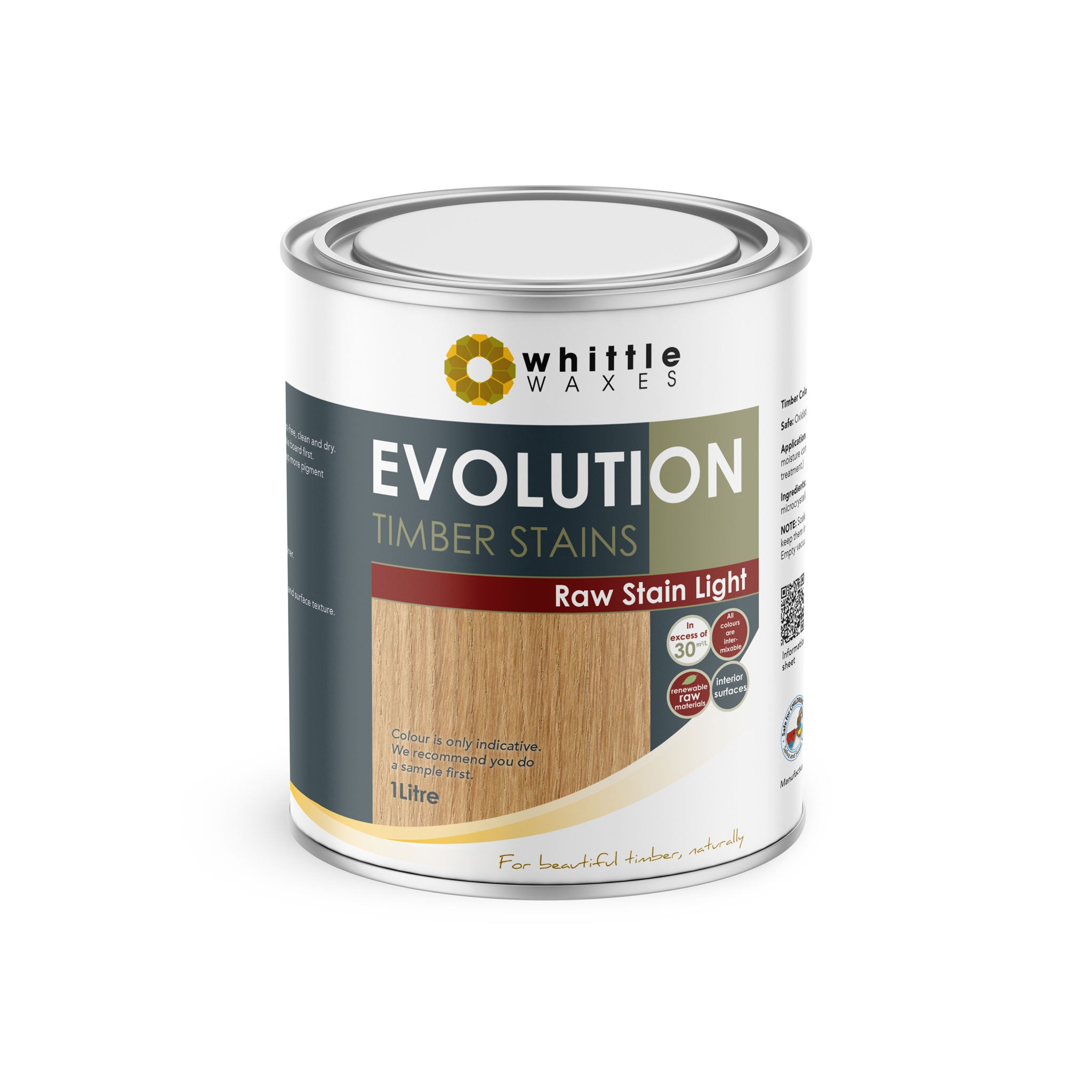 Whittle Waxes Evolution Raw Stain Light - quality timber stain - 1 Litre