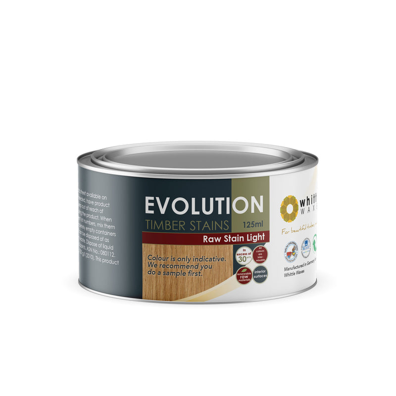 Whittle Waxes Evolution Raw Stain Light - quality timber stain - 125ml