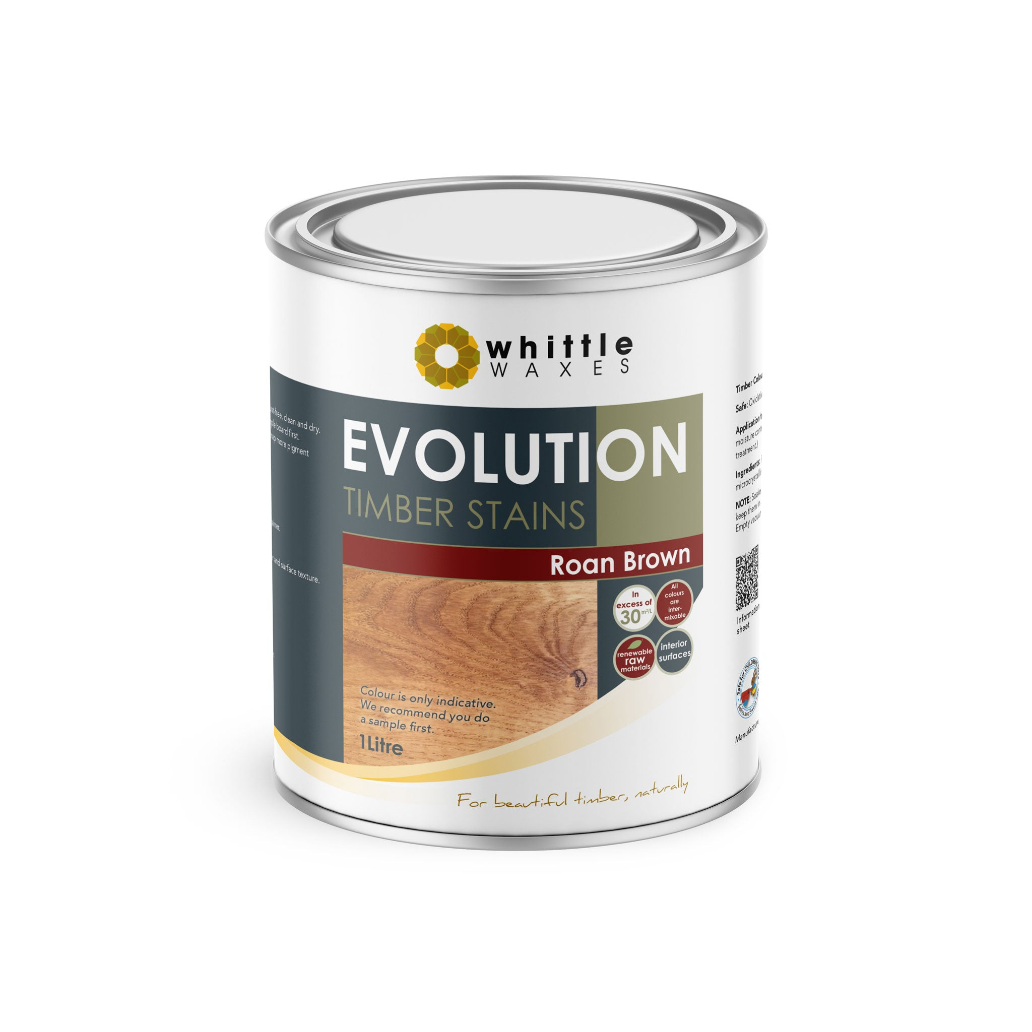 Whittle Waxes Evolution Colours (Roan Brown) - quality timber stain - 1 Litre