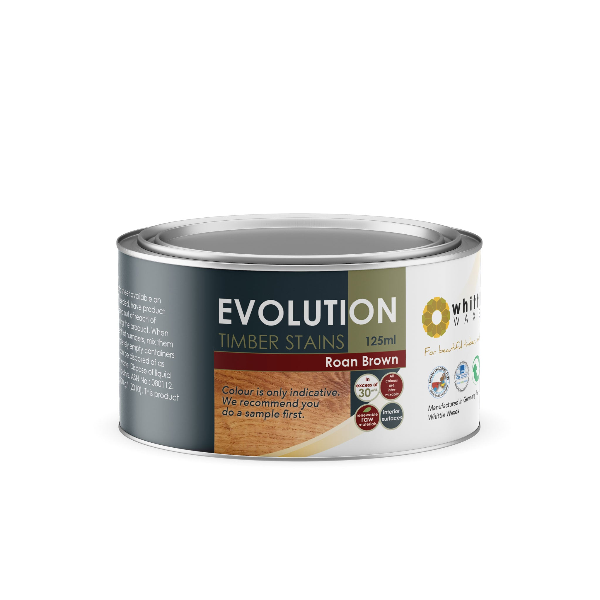 Whittle Waxes Evolution Colours (Roan Brown) - quality timber stain - 125ml