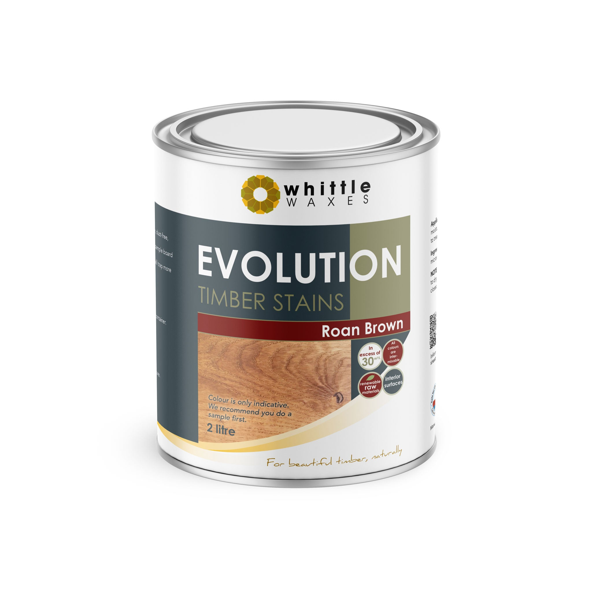 Whittle Waxes Evolution Colours (Roan Brown) - quality timber stain - 2 Litre