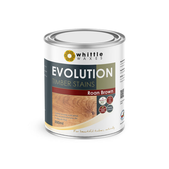 Whittle Waxes Evolution Colours (Roan Brown) - quality timber stain - 500ml