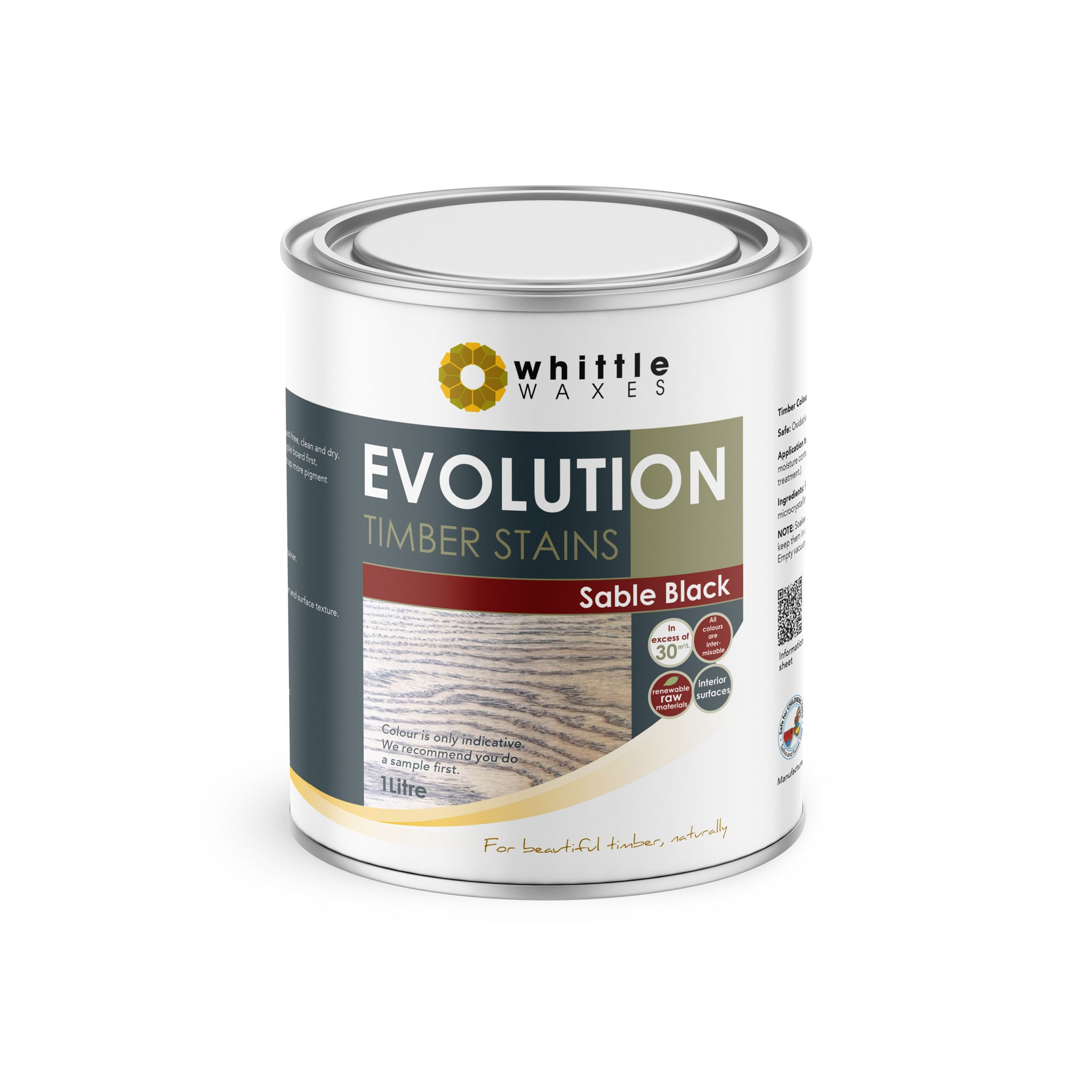 Whittle Waxes Evolution Colours (Sable Black) - quality timber stain - 1 Litre