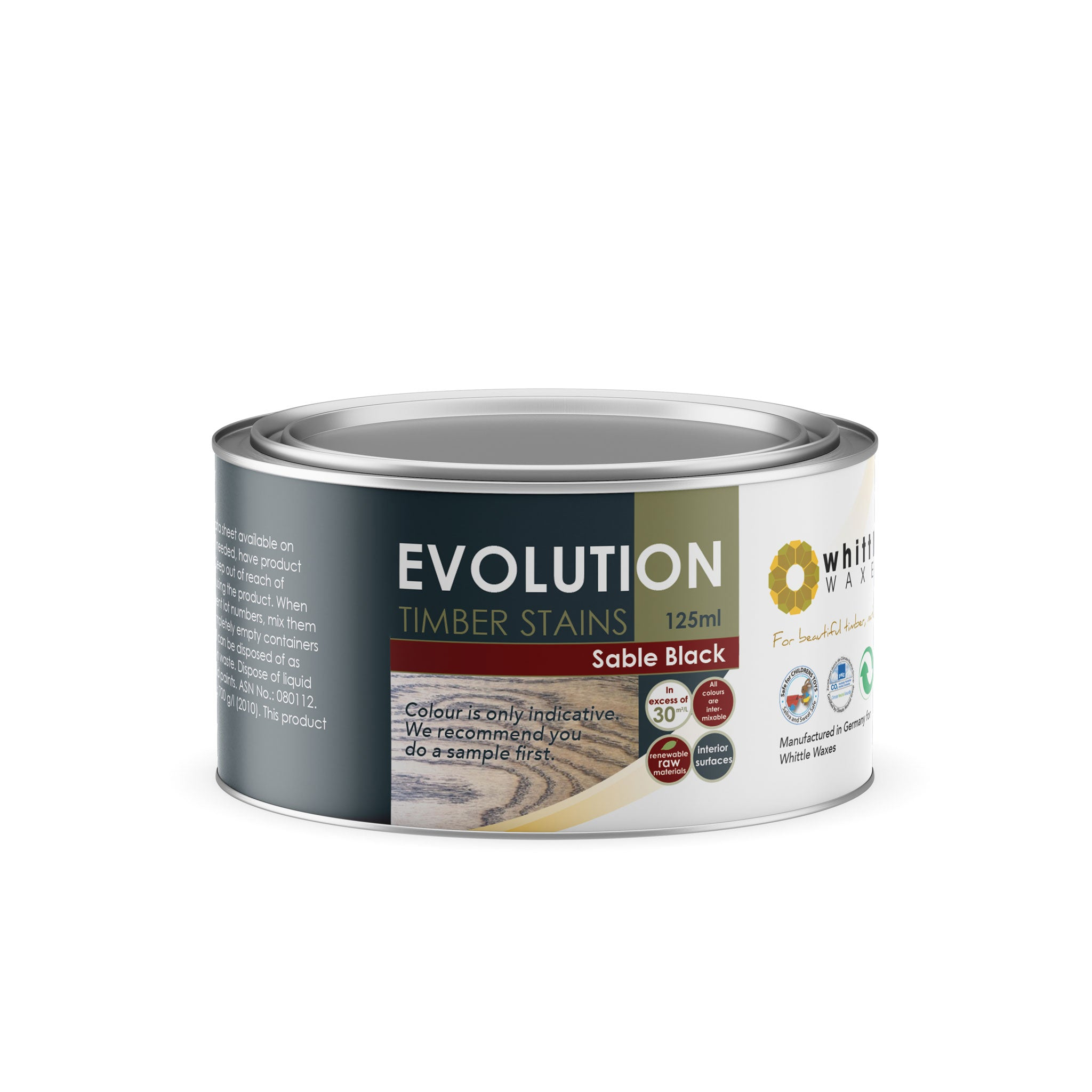 Whittle Waxes Evolution Colours (Sable Black) - quality timber stain - 125ml