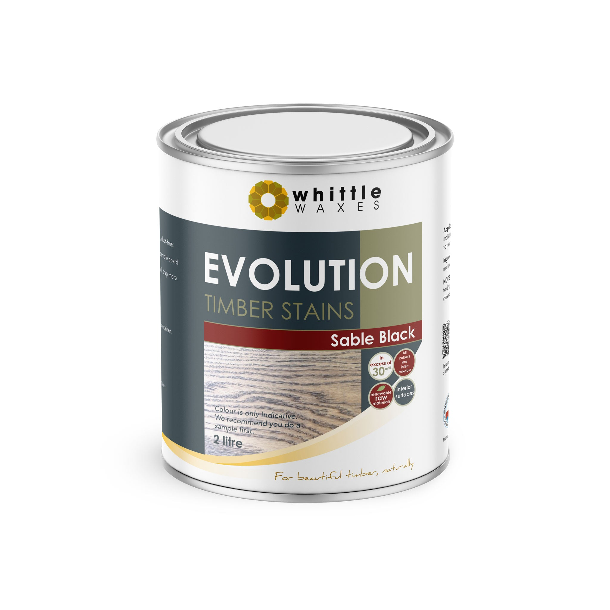 Whittle Waxes Evolution Colours (Sable Black) - quality timber stain - 2 Litre
