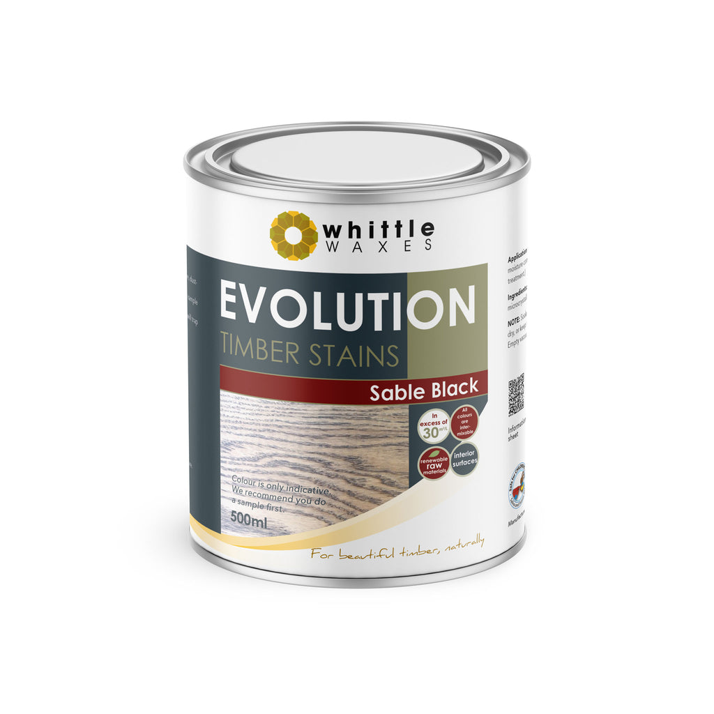 Whittle Waxes Evolution Colours (Sable Black) - quality timber stain - 500ml