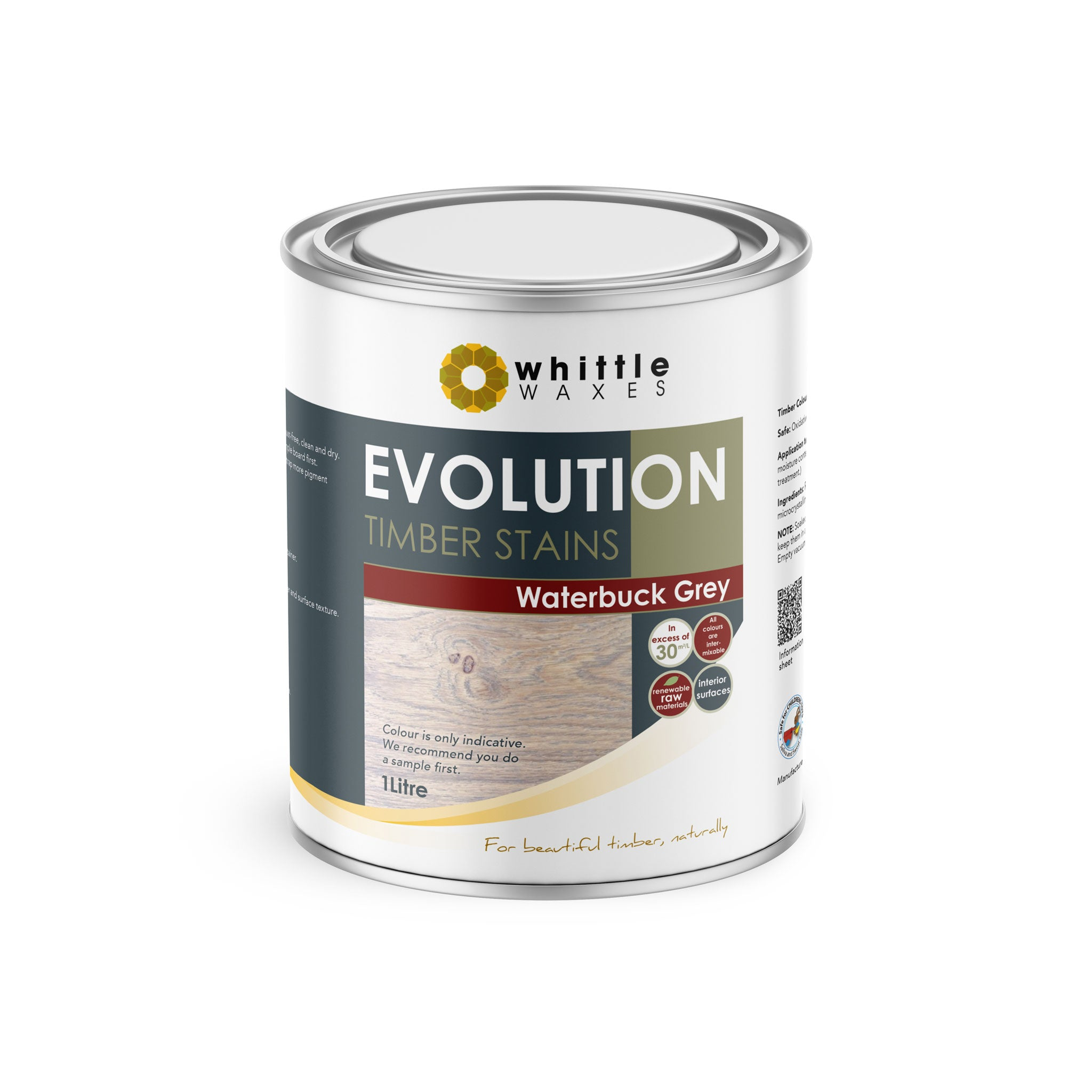 Whittle Waxes Evolution Colours (Waterbuck Grey) - quality timber stain - 1 Litre