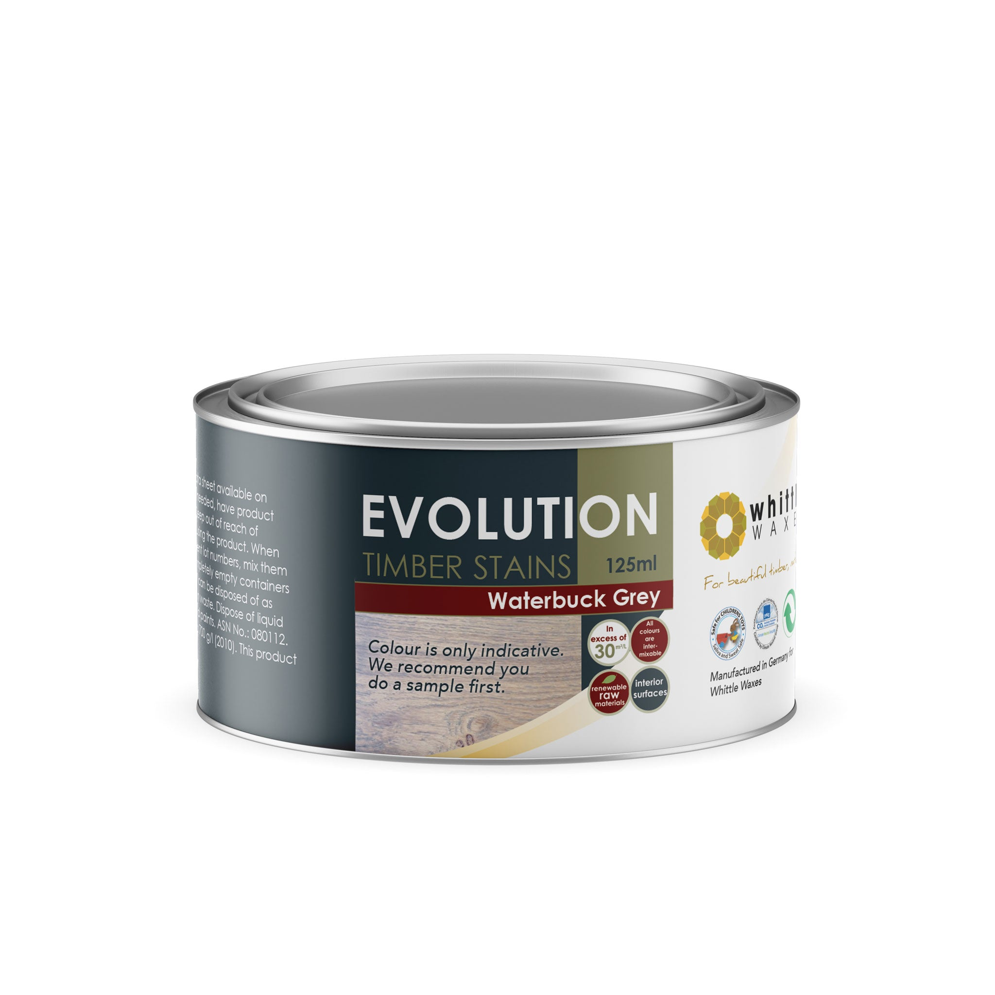 Whittle Waxes Evolution Colours (Waterbuck Grey) - quality timber stain - 125ml