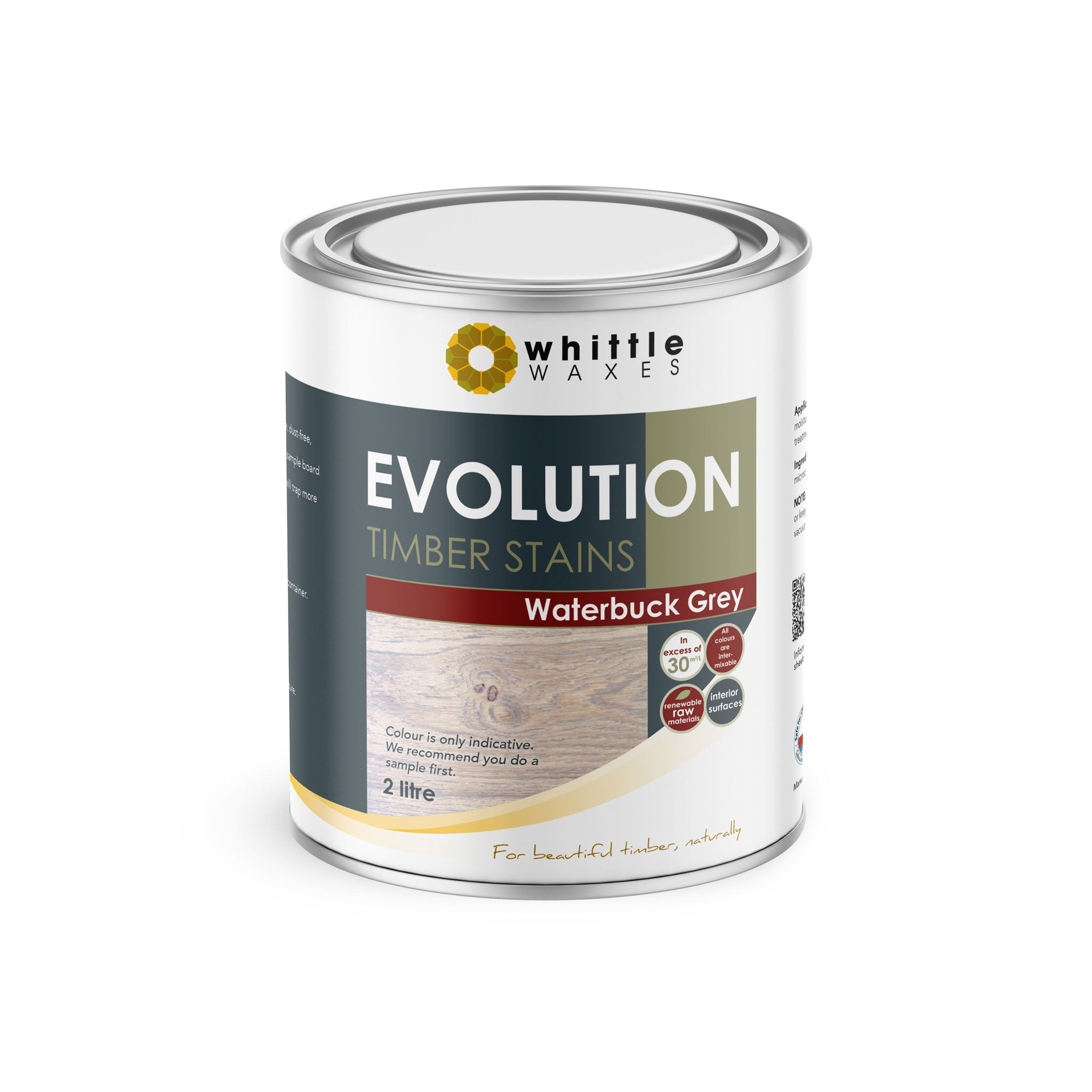 Whittle Waxes Evolution Colours (Waterbuck Grey) - quality timber stain - 2 Litre