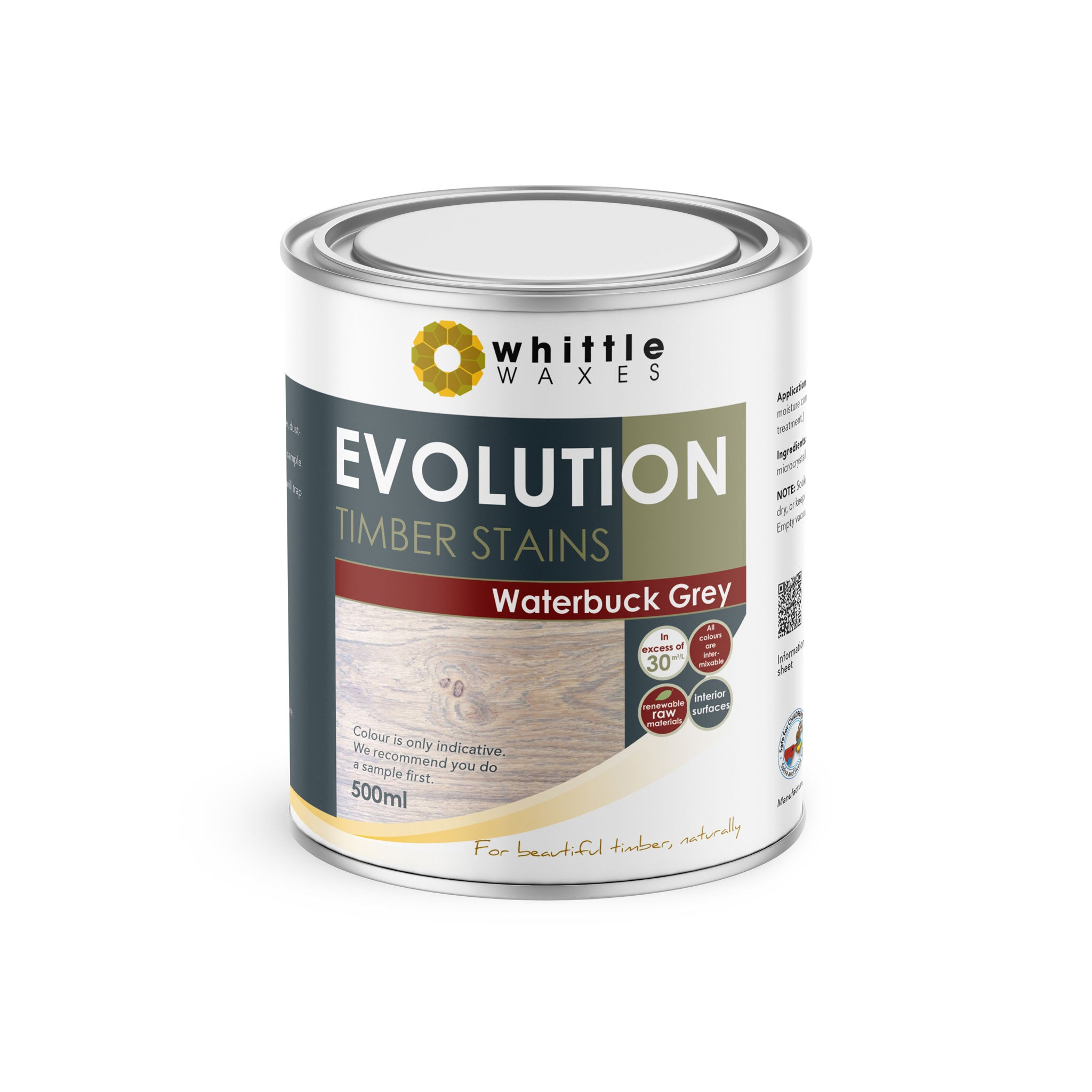 Whittle Waxes Evolution Colours (Waterbuck Grey) - quality timber stain - 500ml