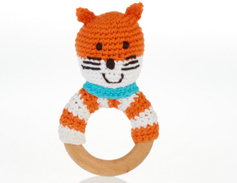 Pebble Wooden Teething Ring and Rattle