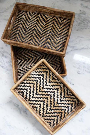 Chevron Banana Leaf Stacking Trays