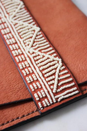 Taino Beaded Leather Clutch