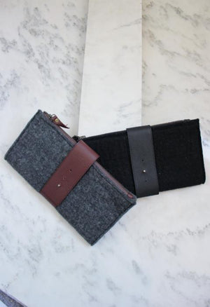 Felt and Leather Foldover Clutch
