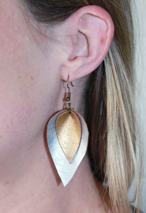 Two Tone Leather Feather Earrings