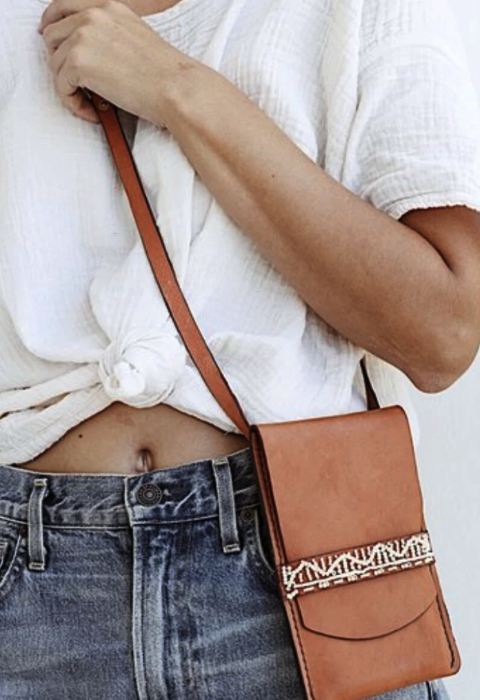 Taino Beaded Leather Crossbody