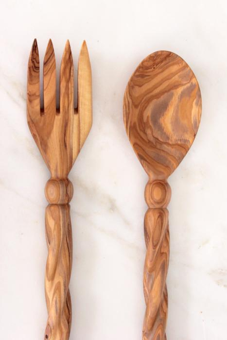 salad server set holy land designs handmade hand carved