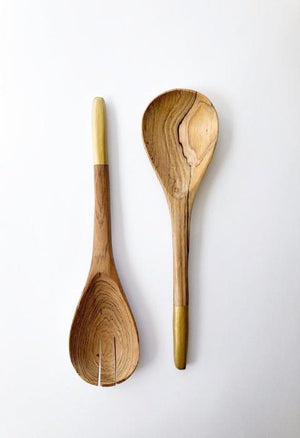 Kuni wooden spoons with gold handle