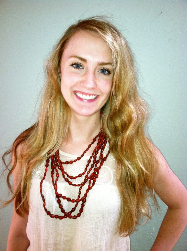 Britt wearing Noonday necklace