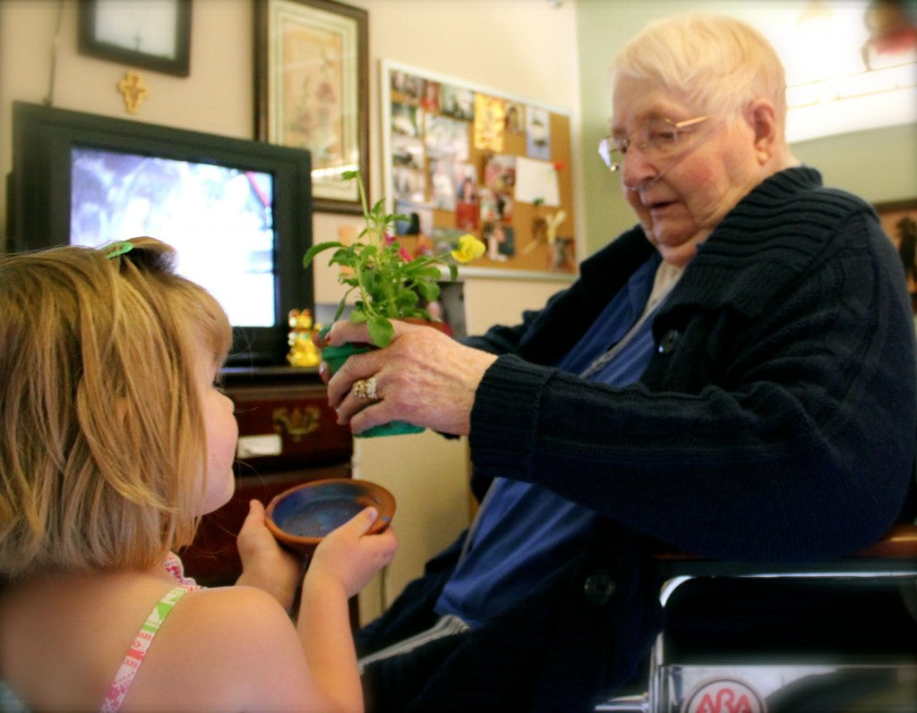 Sharing flowers with residents