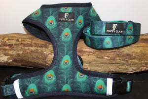 Prancing Peacock Neck Adjustable Harness & Lead Combo