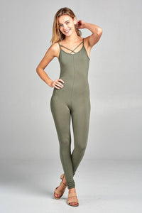 54956377a7a Ladies fashion front cross strap cami bodycon jersey cotton spandex jersey  jumpsuit