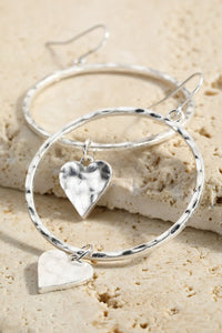 Hammered metal ring w heart charm
