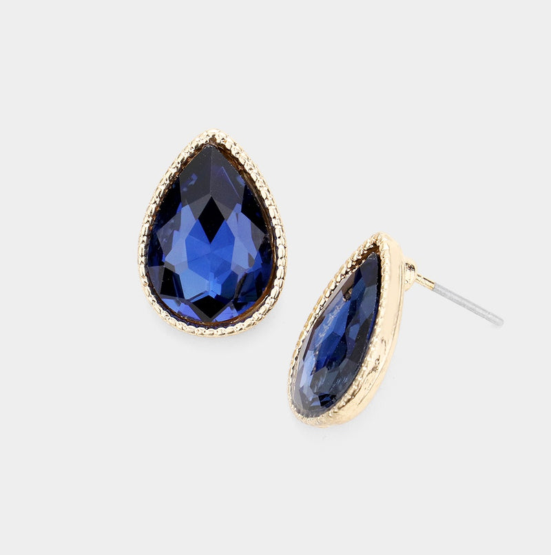 Glass Teardrop Stud