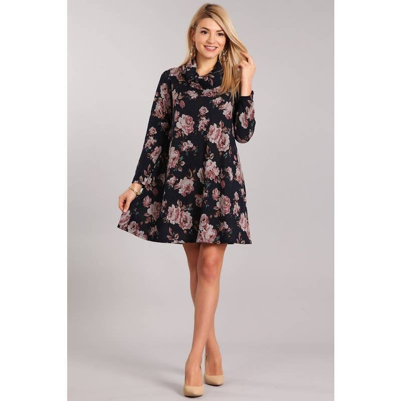 Knit Turtle Neck Dress Floral Midi