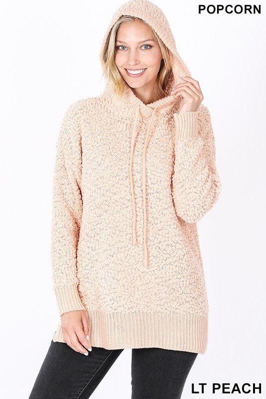Christy Hooded Popcorn Sweater