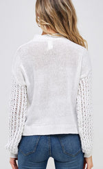 Knit Sleeve Round Neck Sweater