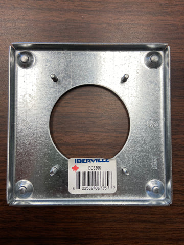 "BC8366 4"" Square Cover 30A Round Receptacle"
