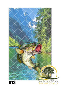 Label Cast Bass fish - Oakbrook Wood Turning Supply