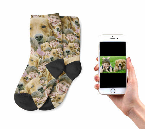 Kids Multi Face With Dog Socks