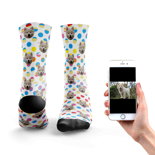 Rainbow Polka Dot Dog Socks