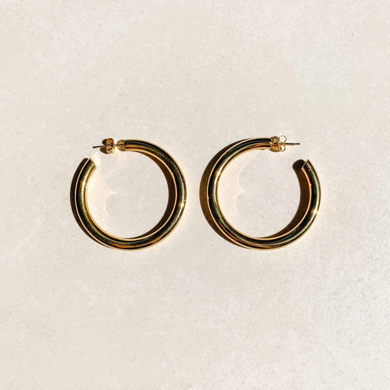 Oversized Gold Tube Hoops