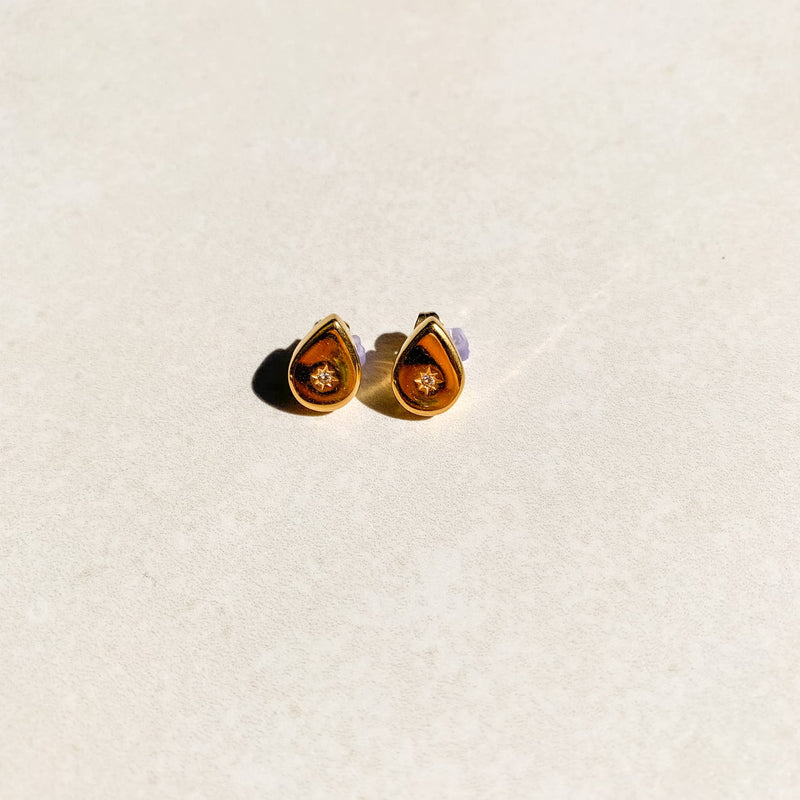 Diamond Teardrop Studs