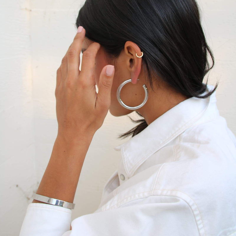 Oversized Silver Tube Hoops
