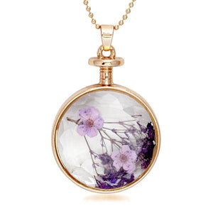 Urthn Purple Floral Gold Plated Chain Pendant -1202426