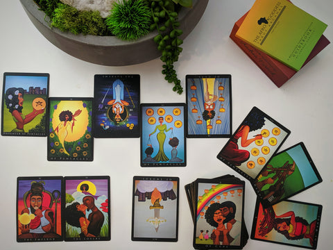cards from the Afro Goddess Tarot Arcanas deck