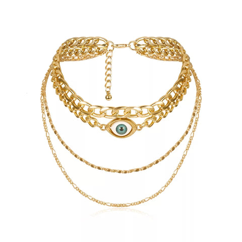 Evil Eye Multi Chain Necklace (Gold)