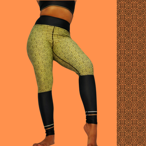 Afro Goddess Yoga Leggings OLIVE