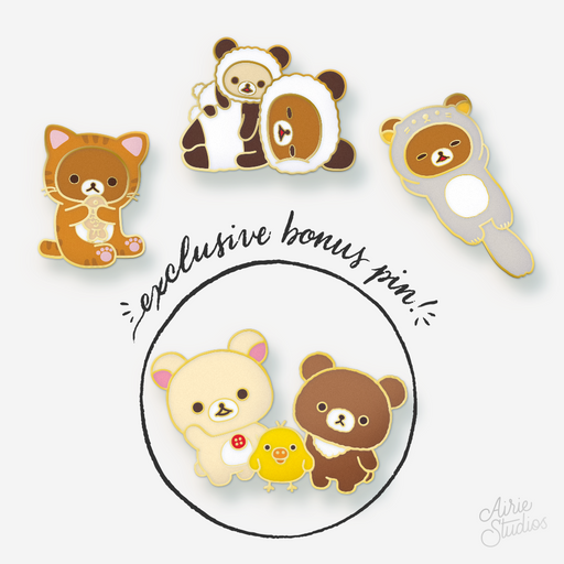 Rilakkuma Animal Dress-up Enamel Pin Set + Bonus Pin