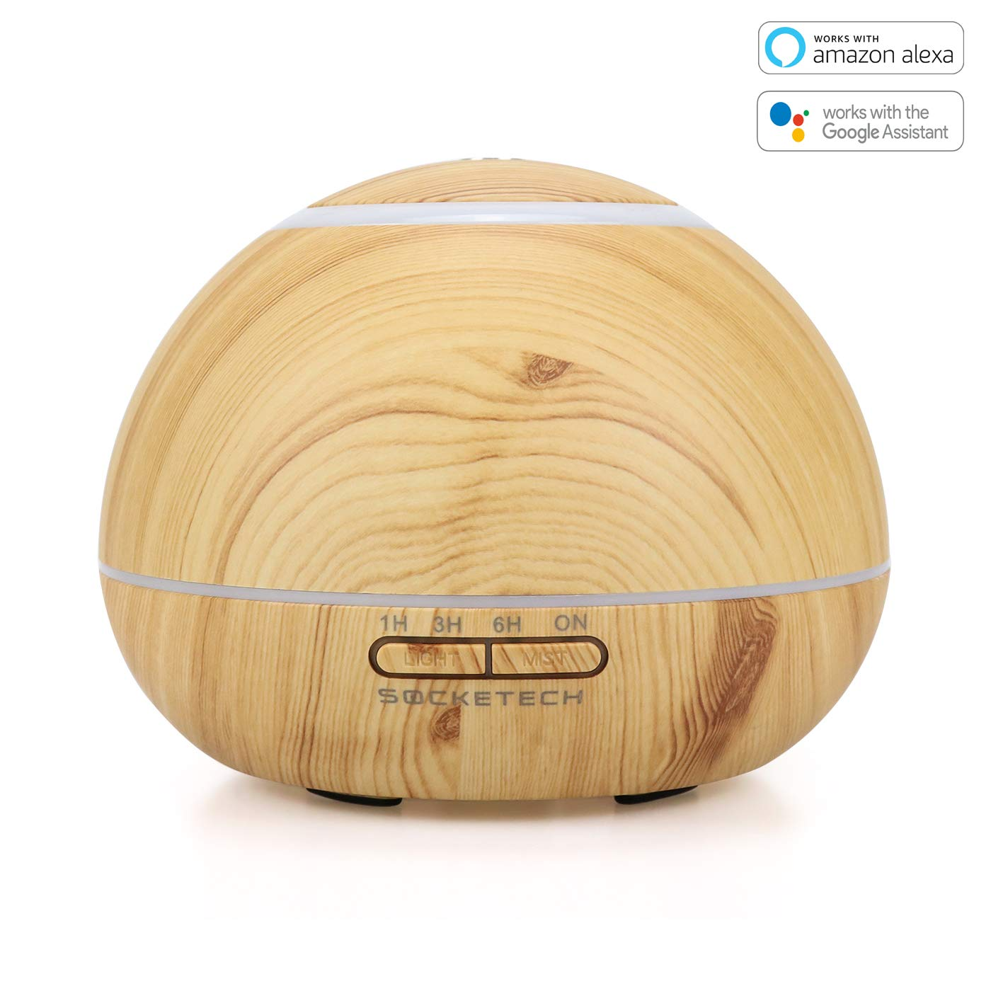 SOCKETECH ST17K 300ml Smart Wireless Essential Oil Aromatherapy Diffuser - Works with Alexa&Google Home,APP and Voice Control - Light Wood Grain